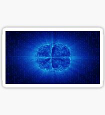 Blue Glowing Brain Wired On Neural Surface Or Electronic Conductors Sticker