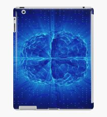 Blue Glowing Brain Wired On Neural Surface Or Electronic Conductors iPad Case/Skin