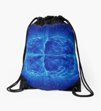 Blue Glowing Brain Wired On Neural Surface Or Electronic Conductors Drawstring Bag