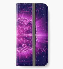 Purple Glowing Brain Wired On Neural Surface Or Electronic Conductors iPhone Wallet/Case/Skin