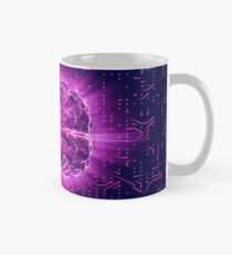 Purple Glowing Brain Wired On Neural Surface Or Electronic Conductors Mug