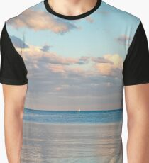 Glossy Rose Gold and Sapphire Blue - Waterside Relaxation Zone Graphic T-Shirt