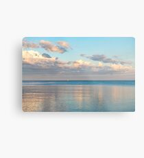 Glossy Rose Gold and Sapphire Blue - Waterside Relaxation Zone Metal Print