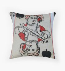 The Playing Cards - Queen of Spades - A Very Dark Woman Throw Pillow