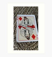 The Playing Cards - Queen of Diamonds - A Very fair Woman Art Print