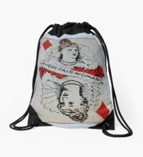 The Playing Cards - Queen of Diamonds - A Very fair Woman Drawstring Bag
