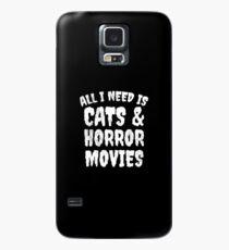 Alles, was ich brauche, ist Katzen und Horrorfilme - Horror Fan Geschenk Hülle & Klebefolie für Samsung Galaxy