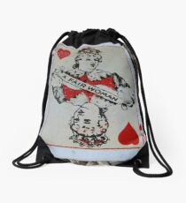 The Playing Cards - Queen of Hearts - A Fair Woman Drawstring Bag