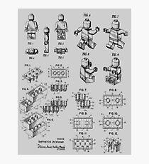 Lego Toy Bricks und Lego Man Vintage Patent Zeichnung Fotodruck