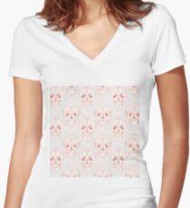 Blushing rose skulls Women's Fitted V-Neck T-Shirt