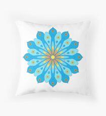 Mandala fleurs bleu, jaune, orange Coussin