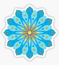Mandala fleurs bleu, jaune, orange Sticker