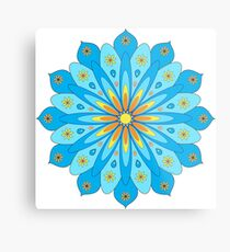 Mandala fleurs bleu, jaune, orange Impression métallique