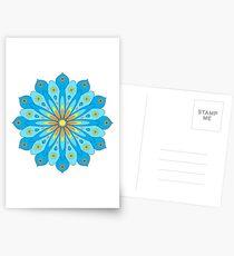 Mandala fleurs bleu, jaune, orange Cartes postales