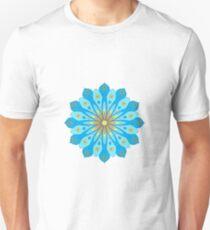Mandala fleurs bleu, jaune, orange T-shirt unisexe
