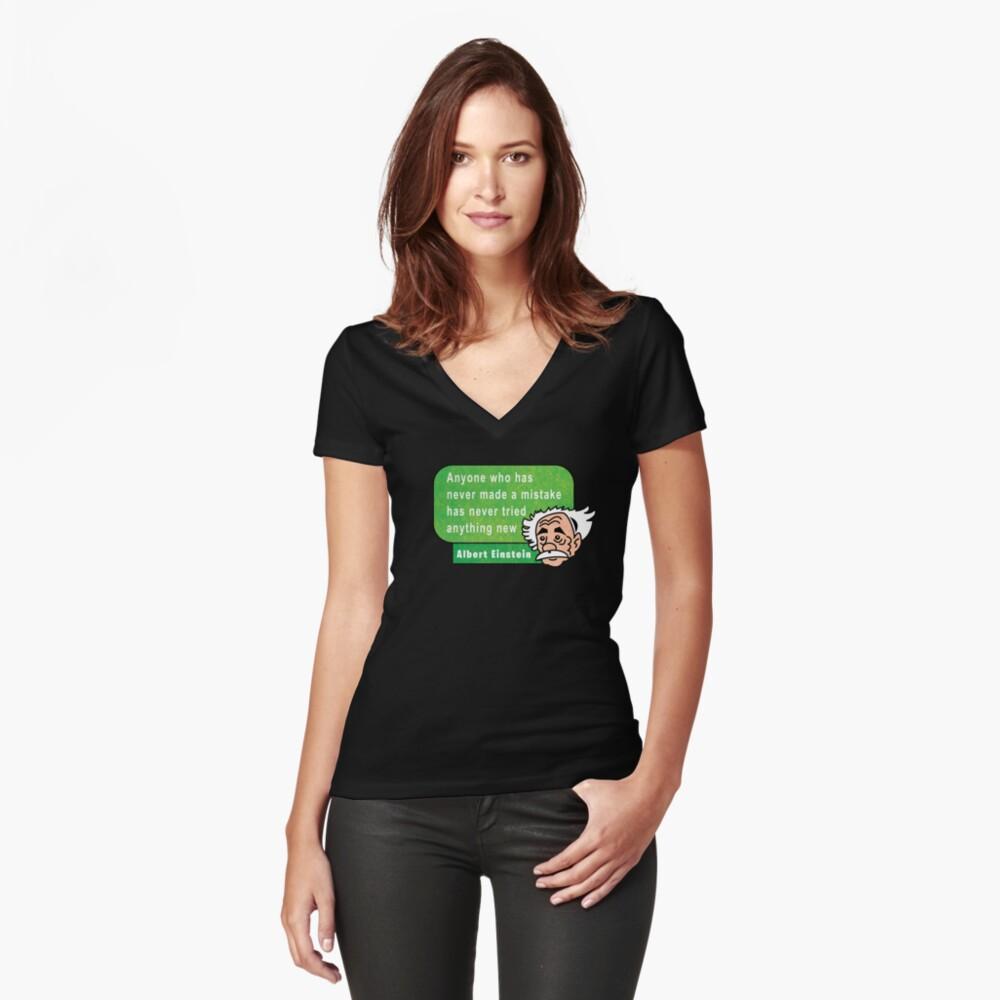 Einstein Motivation Inspiration Quote Camiseta entallada de cuello en V