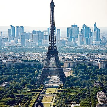 Eiffel Tower  -  Tour Eiffel - with La Defense in the Background by Buckwhite