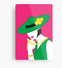Madame - Grün und Pink Metallbild
