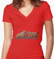 Prairie Dog Kiss Women's Fitted V-Neck T-Shirt