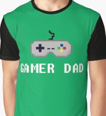 8Bit Retro Gamer Dad with Controller Design - Gaming Dad Graphic T-Shirt