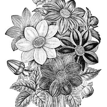 Vintage Flowers Black White Print by VintageArchive