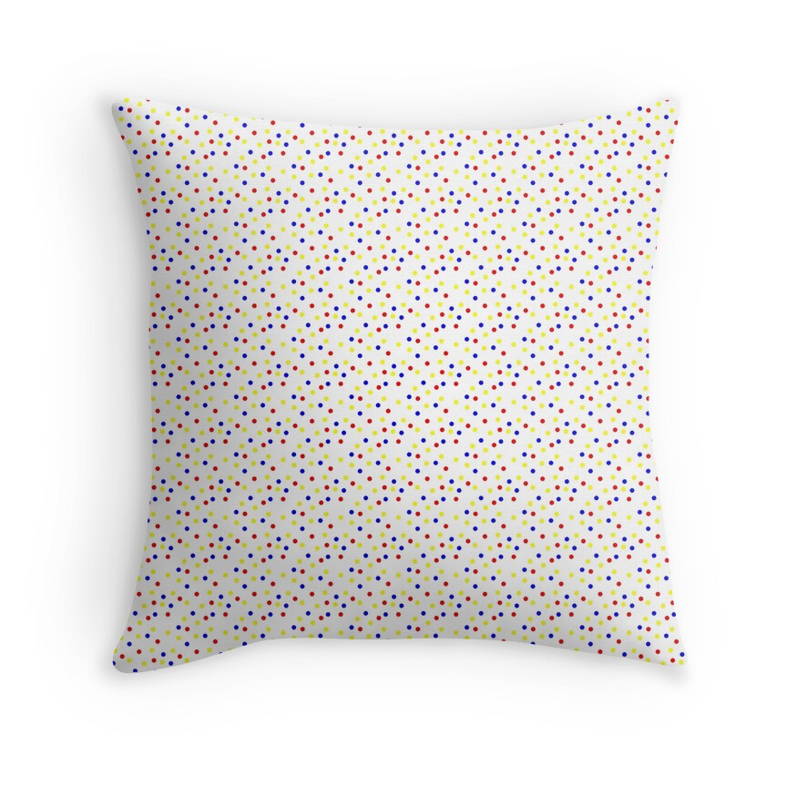 Magic White Dot Red Blue and Yellow Polkadots Illusion