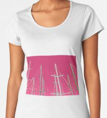 Masts of yachts and sail boats with clear pink sky background Women's Premium T-Shirt