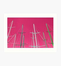 Masts of yachts and sail boats with clear pink sky background Art Print