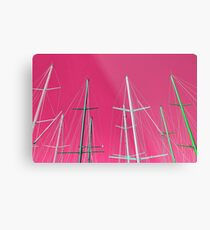 Masts of yachts and sail boats with clear pink sky background Metal Print