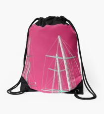 Masts of yachts and sail boats with clear pink sky background Drawstring Bag
