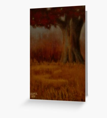 """""""... DOWN BY THE BIG OAK TREE, AT SUNDOWN!,"""" Pastel Painting, for prints and products Greeting Card"""