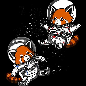 Red Panda Bear Space Astronauts Cosmic Galaxy Travel by underheaven