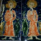 Hand painted  Tiles..  a pair of saints. by catherine walker