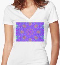 Golden Morning Neon Double Kaleidoscope Women's Fitted V-Neck T-Shirt