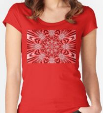 Golden Morning Double Kaleidoscope Neon Red Women's Fitted Scoop T-Shirt
