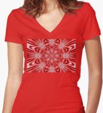 Golden Morning Double Kaleidoscope Neon Red Women's Fitted V-Neck T-Shirt