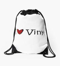 i love vinyl Drawstring Bag