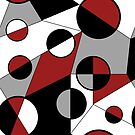 Geometric abstract in dark red, white, black and grey by Denise Beverly
