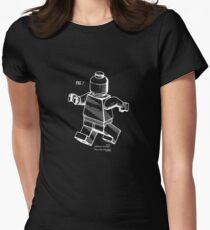 Lego Man Building Bricks Vintage Patent Print Women's Fitted T-Shirt