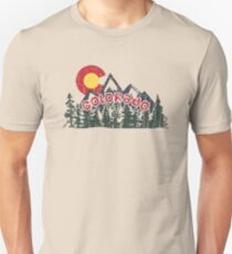 COLORADO C SUNSET OVER MOUNTAINS AND FOREST - DISTRESSED STATE DESIGN Unisex T-Shirt
