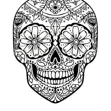 Sugar Skull Day Of The Dead Design Color Your Own By Smart and Punny by SmartAndPunny
