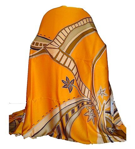 Yellow Hand Painted Silk Satin Batik Fabric by zyhan