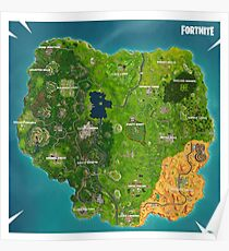 Fortnite Map SEASON 5 UPDATED Poster