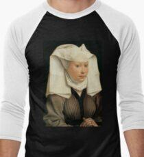 Camiseta ¾ bicolor para hombre Retrato de una mujer - Rogier van der Weyden