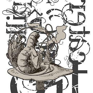 Alice In Wonderland Caterpillar Grunge by incognitagal