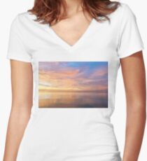 Good for the Soul - Mesmerising Sunrise Clouds Over Lustrous Waters Women's Fitted V-Neck T-Shirt