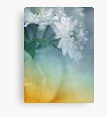 Whispery White Vintage in Vase Metal Print
