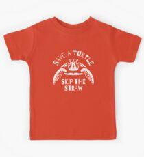 Retten Sie eine Schildkröte Skip The Straw - Meeresverschmutzung Kinder T-Shirt