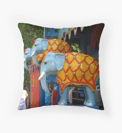 Colors of Amusement--Elephants Throw Pillow