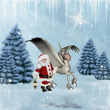 Santa Claus with cute pegasus by nicky2342